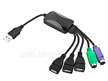 USB 3-Port Hub with PS/2 Port Cable