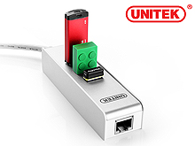 UNITEK Y-3051 USB 3.0 3-Port Hub with Gigabit Lan Adapter