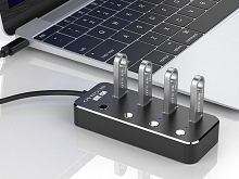 USB 3.0 Aluminum 4-Port Hub with On/Off Switch