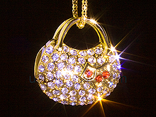 USB Jewel Gold Handbag Necklace Flash Drive