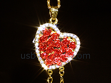 USB Jewel Rose Heart Necklace Flash Drive