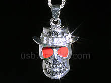 USB Jewel Skull Necklace Flash Drive