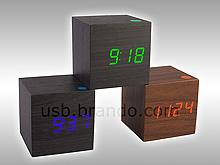 USB Wooden Cube Alarm Clock