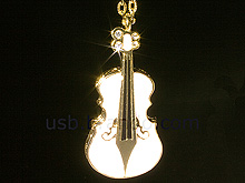 USB Jewel Violin Necklace Flash Drive