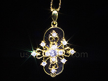 USB Jewel Cross Necklace Flash Drive