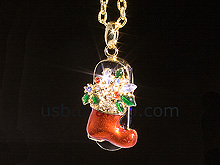 USB Jewel X'mas Stockings Necklace Flash Drive