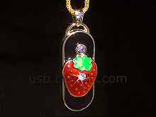 USB Jewel Strawberry Necklace Flash Drive