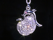 USB Jewel Apple with Dolphin Necklace Flash Drive