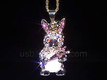 USB Jewel Rabbit with Carrot Necklace Flash Drive