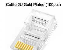 Cat5e RJ45 8P8C Modular Plug Connector - Cat5e 2U Gold Plated (100pcs)