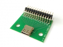 Type-C Test Female + PCB Board with Pin Header