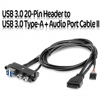 USB 3.0 20-Pin Header to USB 3.0 Type-A + Audio Port Cable II