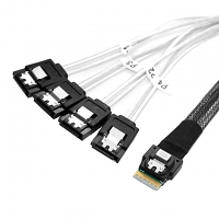 Slim SAS 4.0 SFF-8654 to 4 x SATA 7-Pin Target Raid Cable