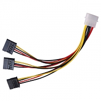 IDE Male (4-pin) to 3 x SATA Female Power Cable