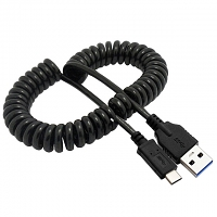 USB 3.1 Type-C Male to USB 3.0 A Male Curled Cable