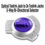 Optical Toslink Jack to 3x Toslink Jacks 3-Way Bi-Directional Selector