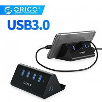 mini 4-Port USB Hub with Smartphone Stand
