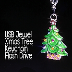 USB Jewel X'mas Tree Keychain Flash Drive