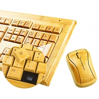 USB Full Bamboo Wireless Keyboard with Mouse