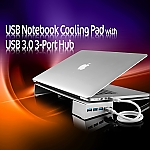 USB Notebook Cooling Pad with USB 3.0 3-Port Hub