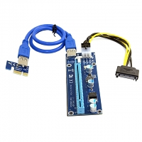 PCI-E 1x to 16x Mining Machine Extender Riser Adapter USB 3.0 & 6-Pin Power Cable