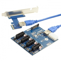PCI-e Express 1x to 4 Port 1x Switch Multiplier Hub Riser Card