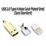 USB 2.0 Type A Male Gold-Plated Shell (3pcs Standard)