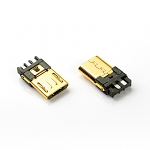 Micro USB 5-Pin Male Solder Connector (Gold-Plated)