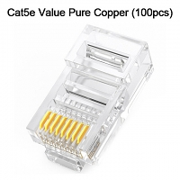Cat5e RJ45 8P8C Modular Plug Connector - Cat5e Value Pure Copper (100pcs)