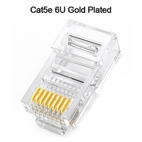 Cat5e RJ45 8P8C Modular Plug Connector - Cat5e 6U Gold Plated
