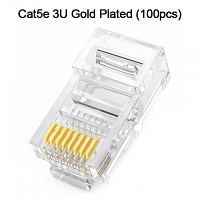Cat5e RJ45 8P8C Modular Plug Connector - Cat5e 3U Gold Plated (100pcs)