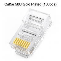 Cat5e RJ45 8P8C Modular Plug Connector - Cat5e 50U Gold Plated (100pcs)