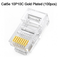 Cat5e RJ45 8P8C Modular Plug Connector - Cat5e 10P10C Gold Plated (100pcs)