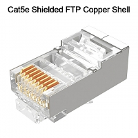 Cat5e RJ45 8P8C Modular Plug Connector - Cat5e Shielded FTP Copper Shell