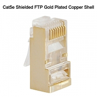 Cat5e RJ45 8P8C Modular Plug Connector - Cat5e Shielded FTP Gold Plated Copper Shell