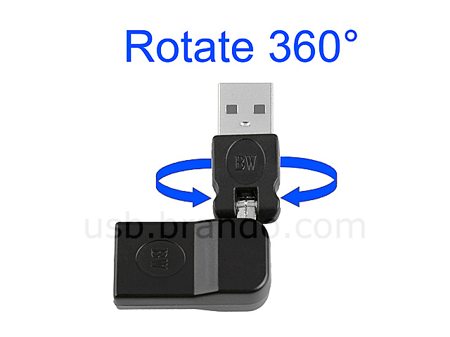 360° x 360° USB A Male to USB B Female Adapter