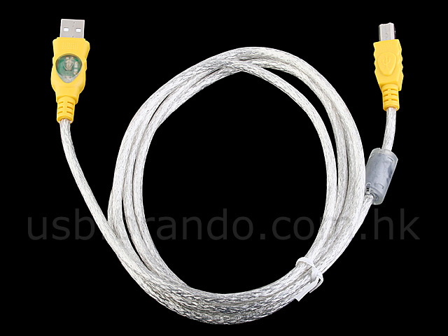 USB A Male to USB B Male Cable with Flashing LED