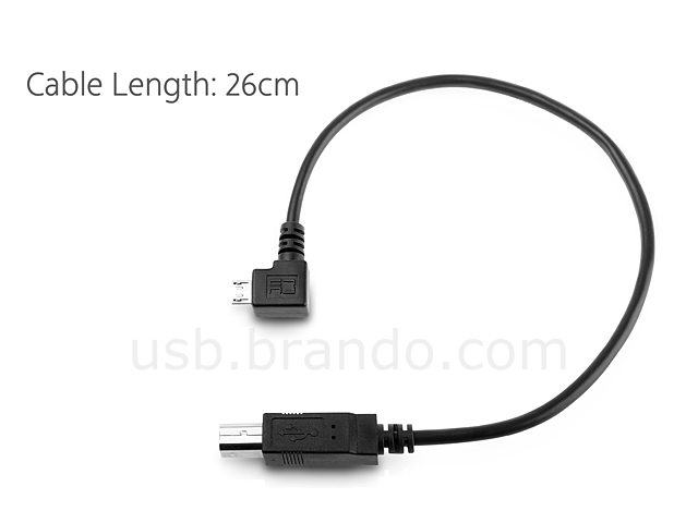 micro-B Male (Right 90°) to USB B Male Short Cable
