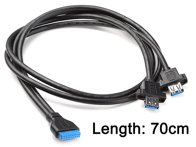 USB 3.0 20-Pin Header Male to USB 3.0 Dual Type-A Female Cable