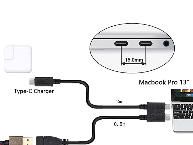 Dual USB 3.1 Type-C OTG Cable with Type-C External Power Supply