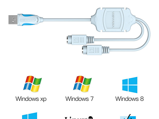 USB to PS/2 Cable (Support Window 10 / 8 / 7)