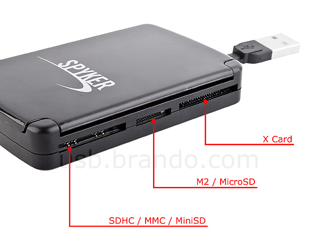 USB Multi-Card Reader with Memory Card Storage Box