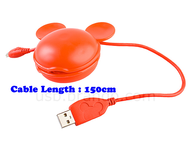 Disney Mickey USB Cable Holder with 150cm USB Cable