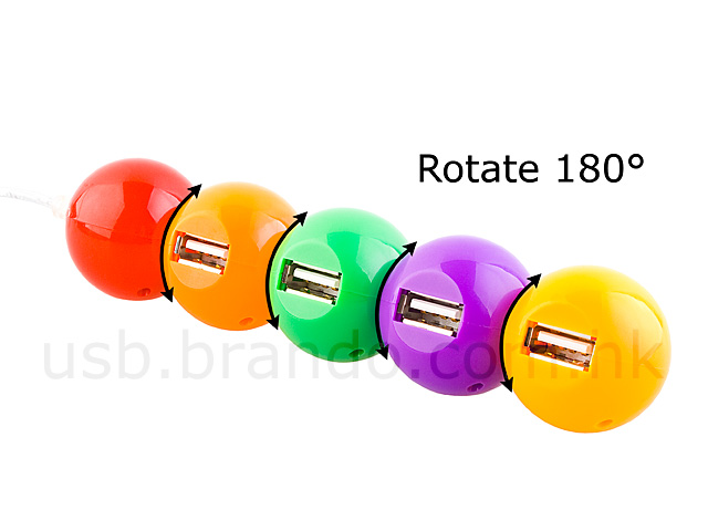 USB 180° Revolving Chromatic Ball 4-Port Hub