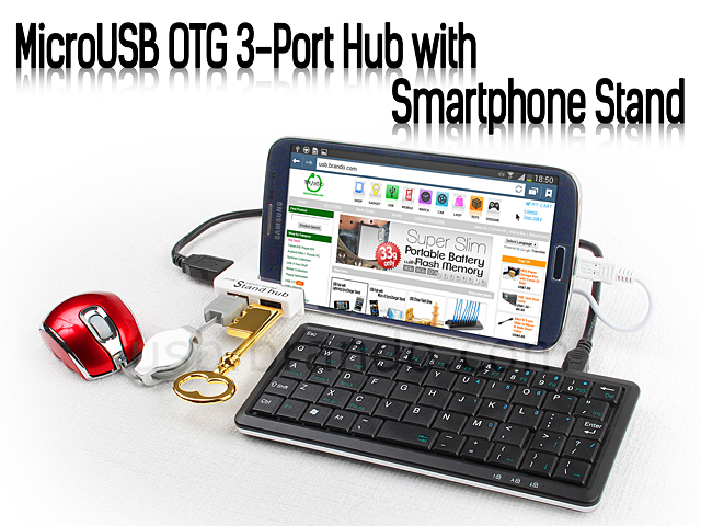 MicroUSB OTG 3-Port Hub with Smartphone Stand