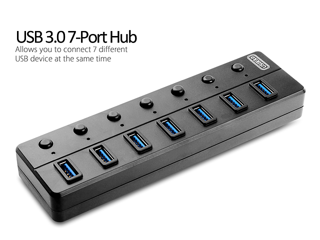 USB 3.0 7-Port Hub with On/Off Switches