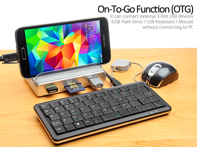 Y 3068 USB 3 0 3 Port Hub with OTG Smartphone Stand