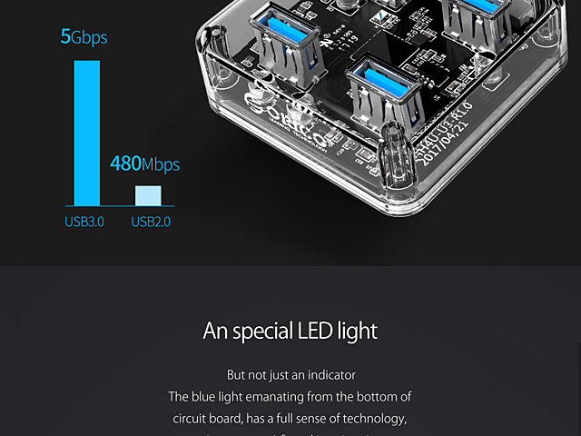 USB 3.0 Transparent 4-Port Hub