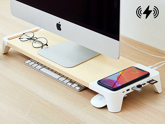 POUT EYES8 Wooden Desk Monitor All-in-One Charging Hub Station with 15W Wireless Charging