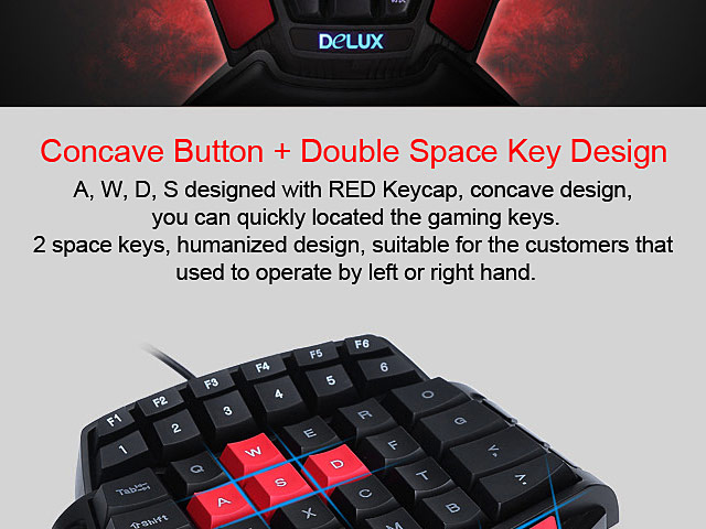 Delux T9 USB One-hand Gaming Keyboard (47keys)
